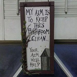 MY AIM....YOUR AIM Bathroom wood wall plaque